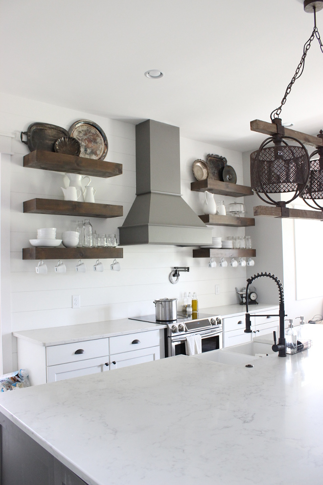 Farmhouse KItchen with Open Shelves and Bianco Marina Quartz Countertop #BiancoMarinaQuartz