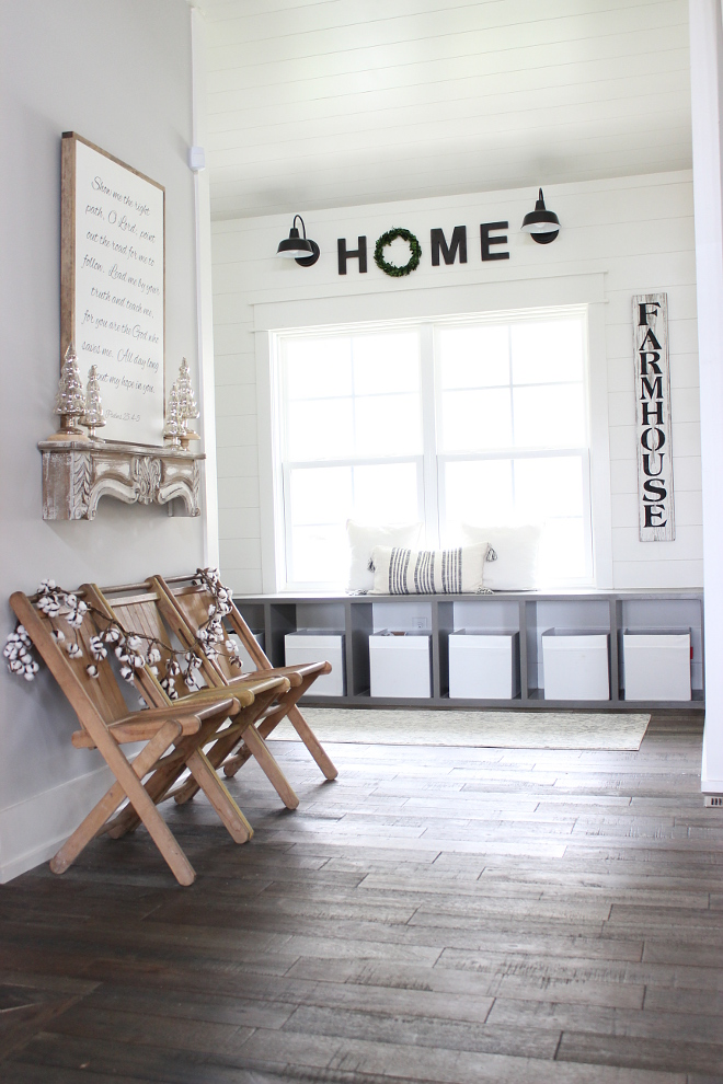Farmhouse Mudroom with hardwood flooring and shiplap paneling Farmhouse Mudroom with hardwood flooring and shiplap paneling Farmhouse Mudroom with hardwood flooring and shiplap paneling Farmhouse Mudroom with hardwood flooring and shiplap paneling #FarmhouseMudroom #mudroom #hardwoodflooring #shiplap #paneling