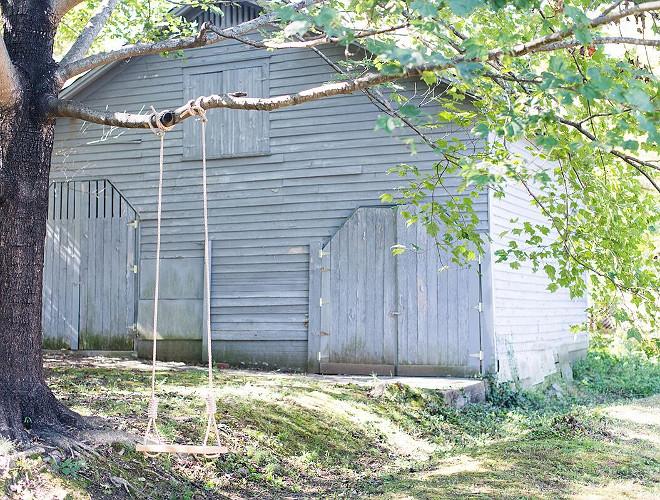 Grey Barn with tree swing Blue Grey Barn with tree swing