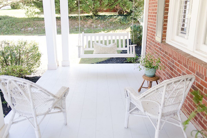 """Painted Porch Flooring Ideas The floor was a fun project. I decided I wanted it to look like wood planks so a friend and I taped it off with ⅛"""" painter's tape and spent a few days completing it, I couldn't be happier with it"""