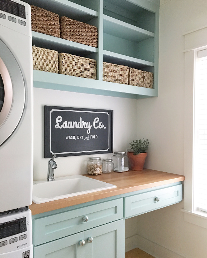 Sherwin Williams Waterscape Laundry room cabinet paint color is Sherwin Williams Waterscape