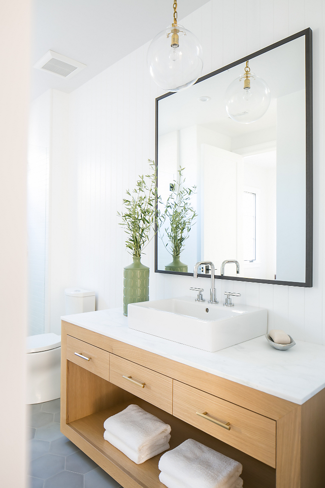Sleek Modern Farmhouse Bathroom Ideas, This modern farmhouse bathroom looks sleek and very current, I love the custom white oak vanity, the hex floor tiles and the vertical tongue and groove walls, Sleek Modern Farmhouse Bathroom Ideas Sleek Modern Farmhouse Bathroom Ideas Sleek Modern Farmhouse Bathroom Ideas #SleekModernFarmhouseBathroom #ModernFarmhouseBathroom #ModernFarmhouseBathroomIdeas