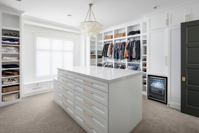 Walk in closet paint color SW7757 High Reflective White. White walk-in closet paint color SW7757 High Reflective White #walkincloset #paintcolor #SW7757HighReflectiveWhite A Finer Touch Construction