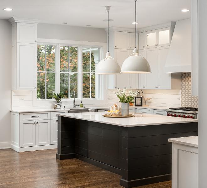 White kitchen with black shiplap island White kitchen with black shiplap island White kitchen with black shiplap island