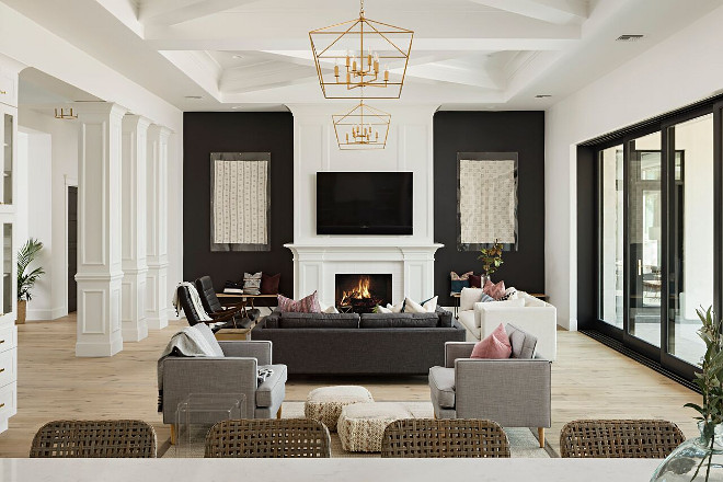 modern black leather sofa crate and barrel willow bed custom single-story home - bunch interior design ideas