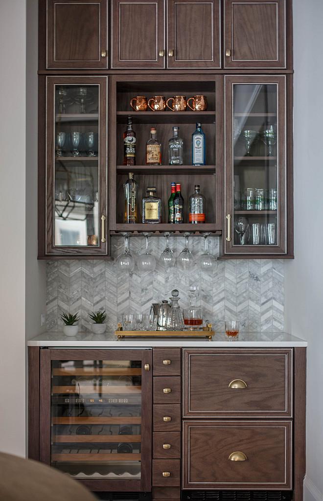Dining Room Bar Cabinet Dining Room Bar Butlers Pantry with herringbone backsplash tile