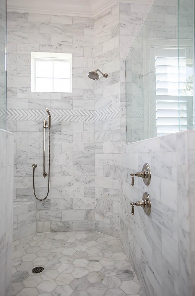 Shower Wall Tile Shower Floor Tile 6x6 Bianco Carrara Hexagon Honed