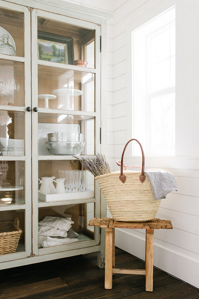 Shiplap pantry ideas This stunning pantry features shiplap on walls and dark hardwood