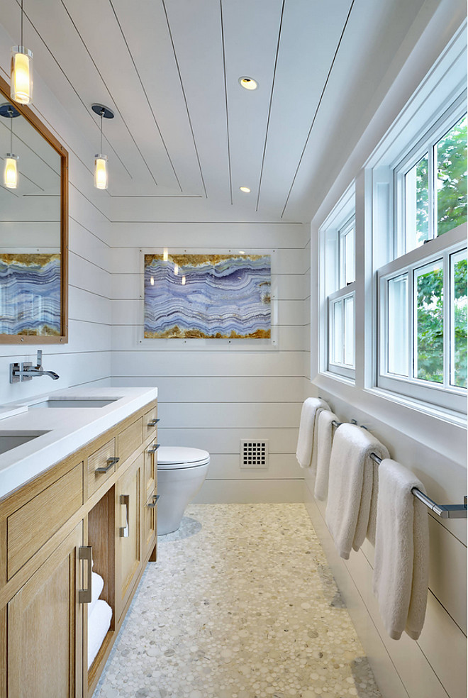 Floor to ceiling Bathroom Shiplap Coastal Farmhouse Bathroom with floor to ceiling shiplap Floor to ceiling Bathroom Shiplap