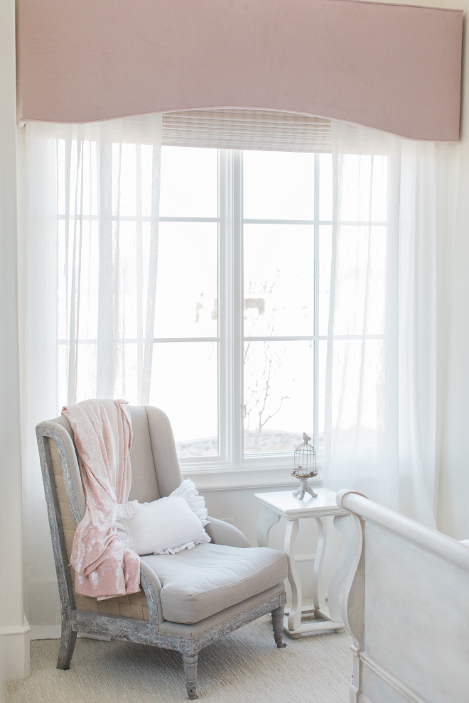 Girl Bedroom Drapery Girl Bedroom Custom blush velvet cornice, white sheer drapes over a white and cream woven wood shades Drapery Girl Bedroom Drapery Girl Bedroom Drapery #GirBedroomDrapery