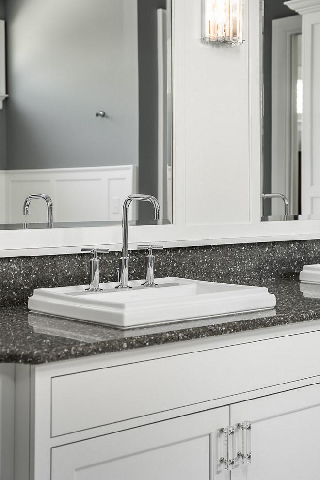 Grey quartz countertop bathroom