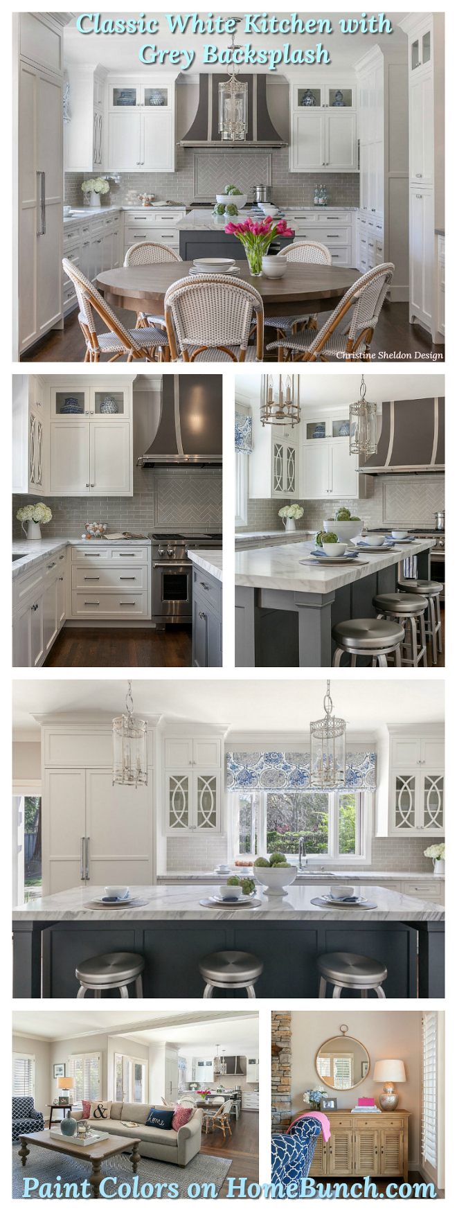 Classic White Kitchen with Grey Backsplash