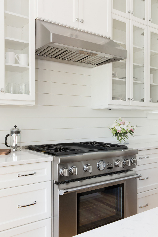 Pure White by Shwerin Williams Kitchen Shiplap Backaplash Paint Color