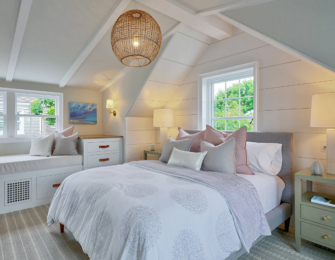 Shiplap Coastal Bedroom Shiplap Coastal Bedroom Shiplap This coastal bedroom features vaulted ceiling, shiplap walls and a fresh color palette mixing greys, mossy greens with pale pink Coastal Bedroom Coastal Bedroom