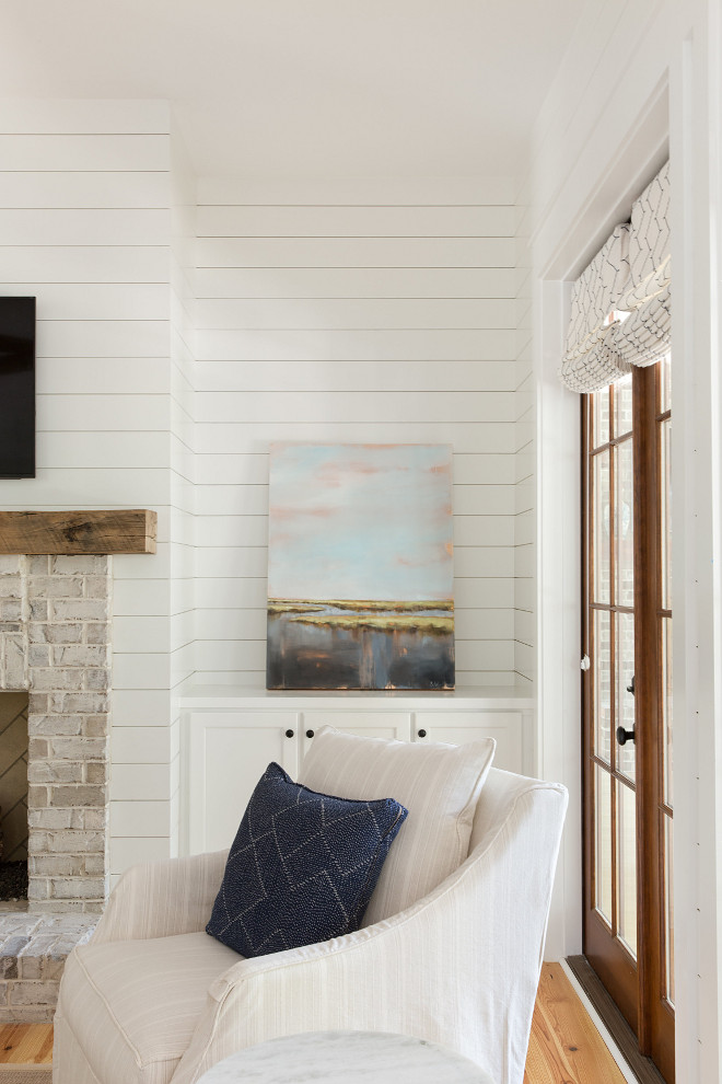 Shiplap Living Room Floor to ceiling Shiplap Coastal Farmhouse Living room with shiplap walls