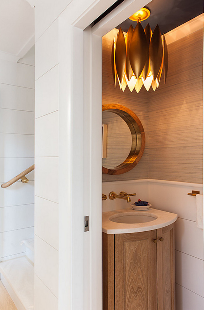 Small Powder Room Shiplap Small Vanity This small powder room features half-wall shiplap paneling, grasscloth wallpaper, custom White Oak vanity and wall-mount faucet