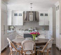 Classic White Kitchen with Grey Backsplash - Home Bunch ...