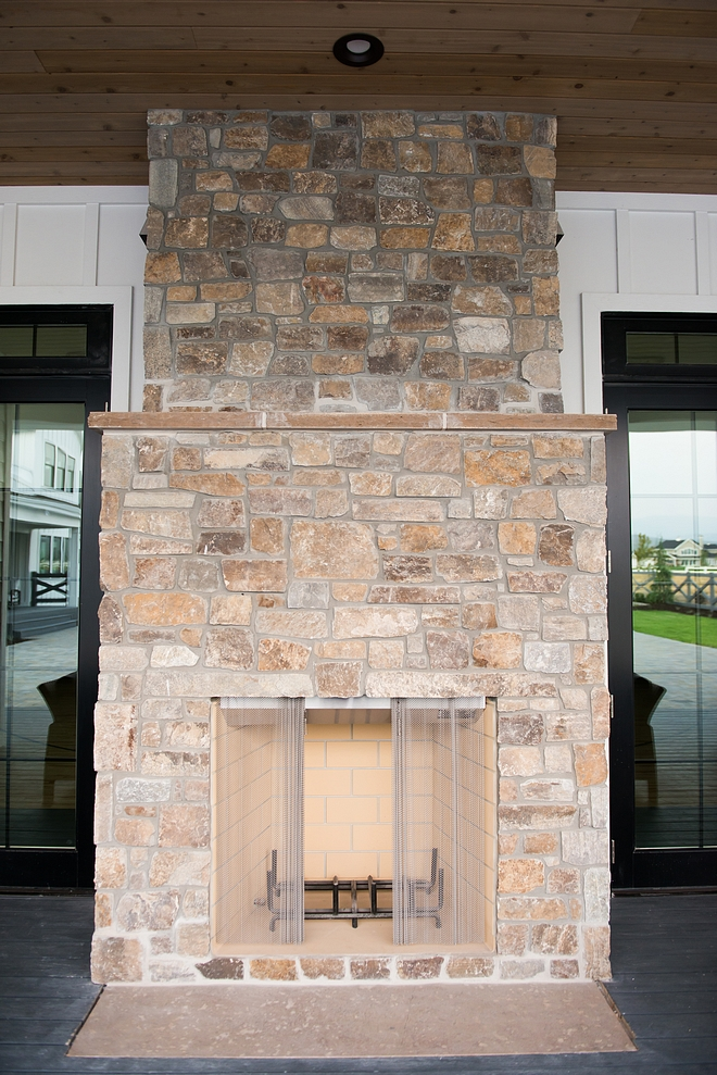 Outdoor Fireplace Stone Outdoor Fireplace Stone – Revelstoke – Standard joint – antique white mortar