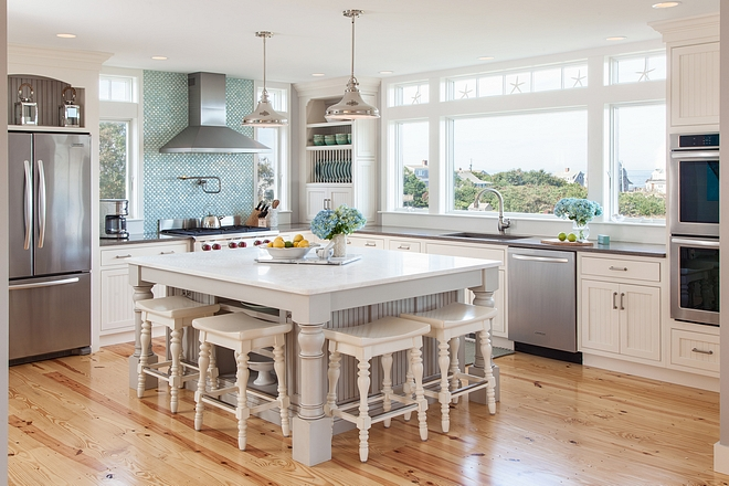 Coastal kitchen island cabinet ideas Island Cabinetry: Framed Inset Door-style Beadboard Painted Maple Pewter with Black Glaze slab top drawers and five-piece overlays on bottom drawers