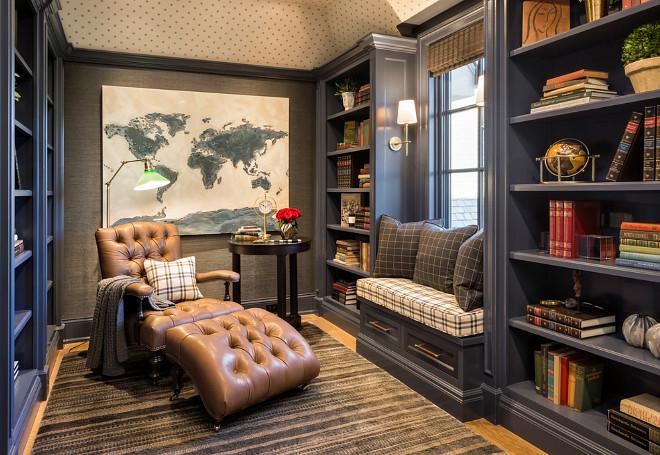Navy blue Bookshelves Den with Navy blue Bookshelves and windows seat Navy blue Bookshelves