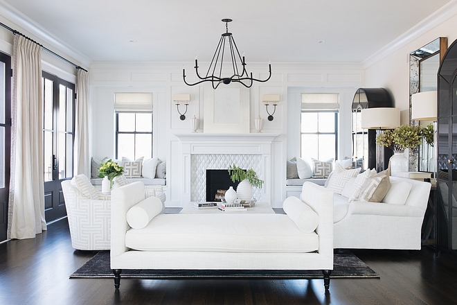 White Living room with black accents