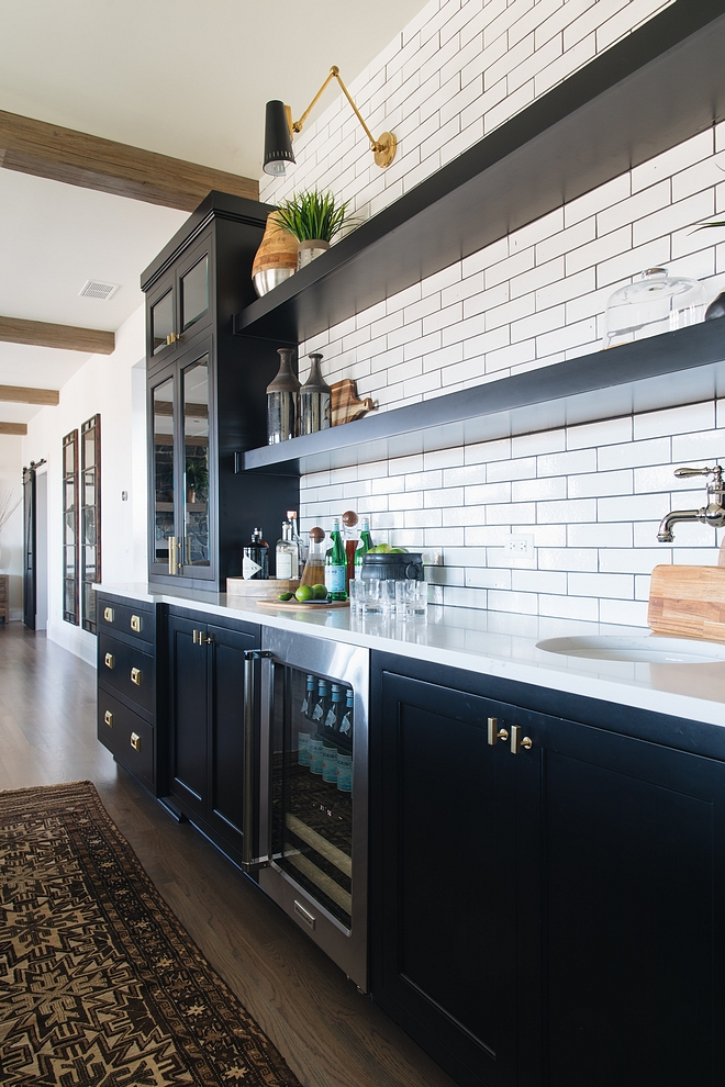 Modern Farmhouse Kitchen Black cabinets painted in Benjamin Moore Black