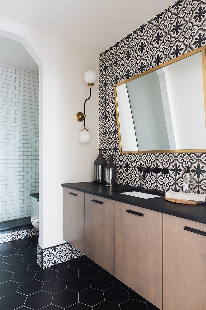 Farmhouse bathroom farmhouse bathroom with patterned wall tile and large hex floor tile