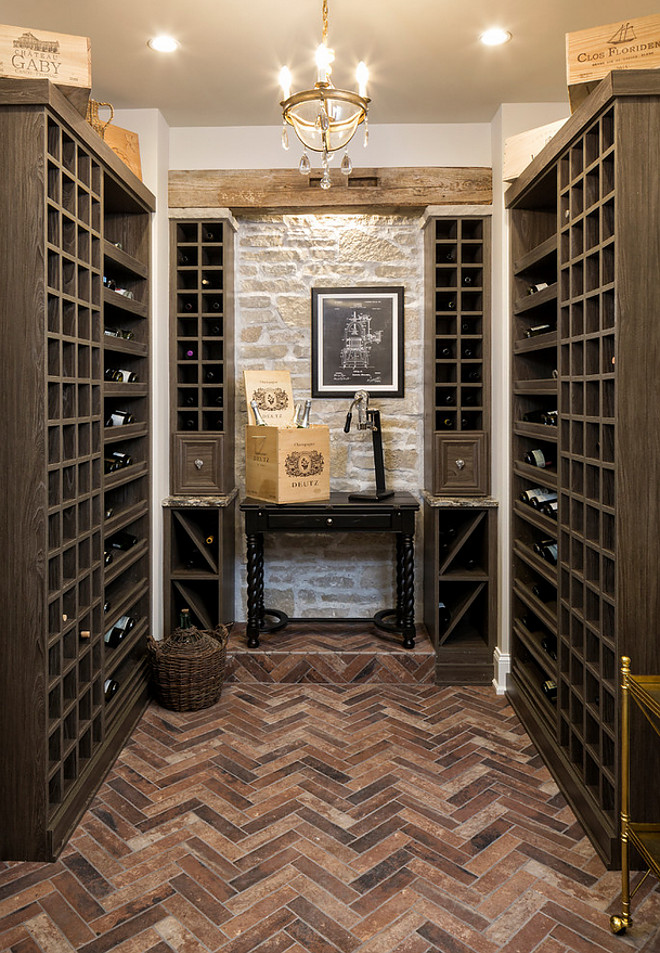 Wine room Herringbone Brick flooring