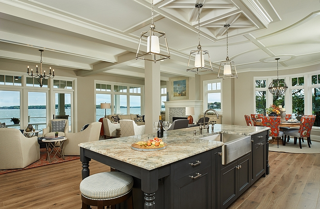 Ceiling Design Ideas Kitchen ceiling Elaborate ceiling details, intricate trim work and elevated ceiling heights are utilized to define living areas throughout, while classic built-ins and bold furnishings bring together comfort and function