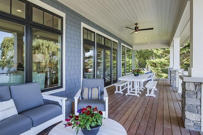 Porch Ceiling Fan and blue cedar shake siding
