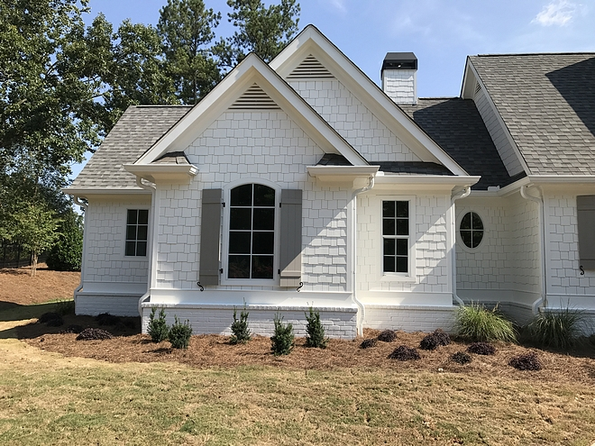 Shingle and brick are painted in Alabaster Sherwin Williams Exterior paint colors