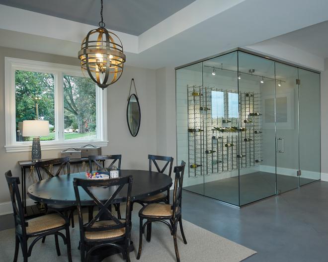 Glass enclosured wine cellar