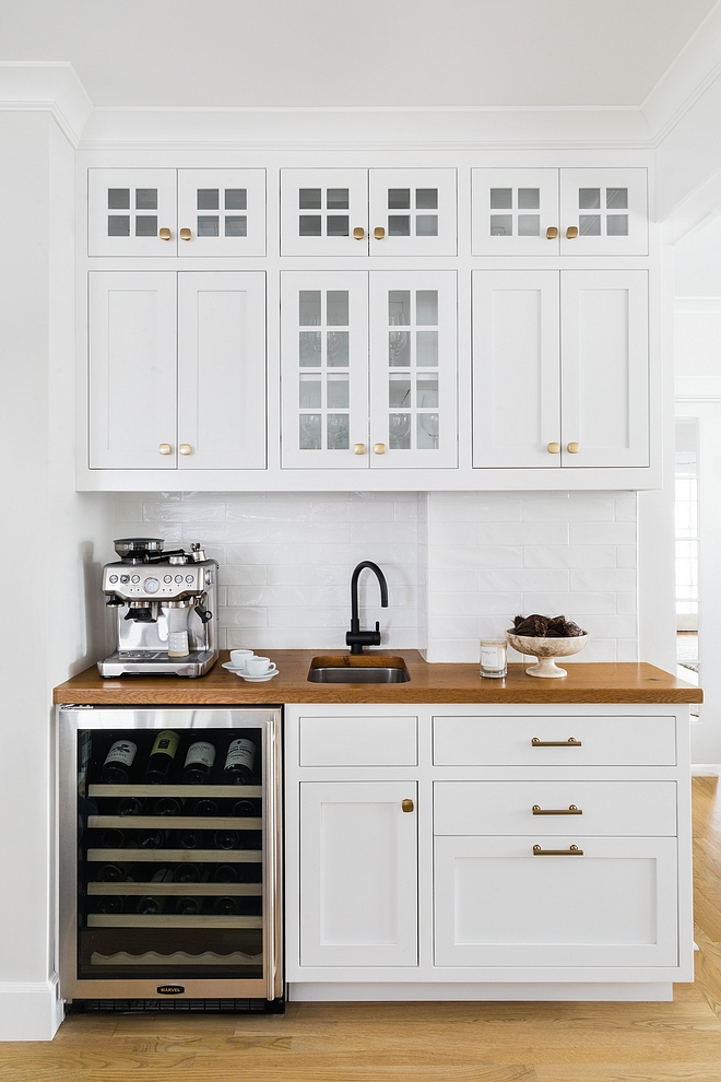 Kitchen Bar Cabinet This kitchen bar features full inset, modified Shaker cabinets and solid Oak wood countertop