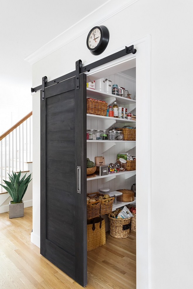 Pantry Barn Door Black Barn Door The pantry barn door was painted with Old Fashioned Milk Paint, color Pitch Black