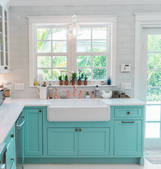 rohl kitchen faucet high top tables custom with turquoise cabinets - home bunch ...