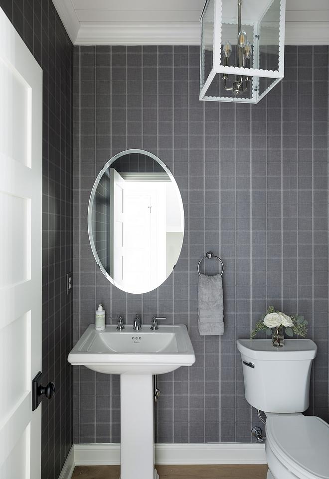 Plaid Wallpaper Powder bathroom with Plaid Wallpaper #PlaidWallpaper