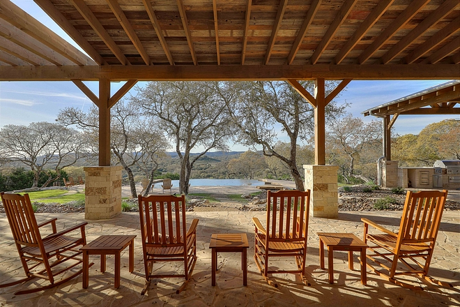 Farmhouse Back Porch with rocking chairs Farmhouse Back Porch #FarmhousePorch