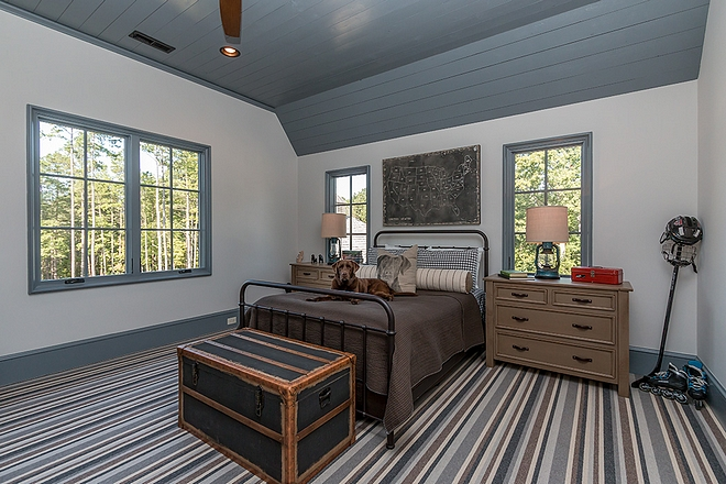 Sherwin Williams SW 7035 Aesthetic White which is a gray paint color Farmhouse boys bedroom paint color Sherwin Williams SW 7035 Aesthetic White Wall paint color SW 7035 Aesthetic White #SherwinWilliamsSW7035AestheticWhite #SherwinWilliamsAestheticWhite #paintcolors #greypaintcolor