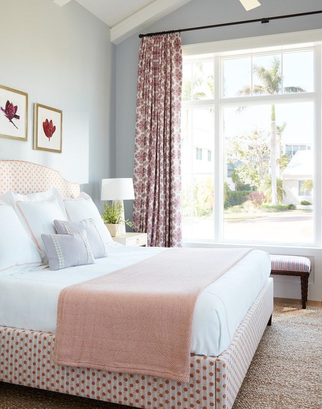 Benjamin Moore 2127-60 Feather Gray We painted the walls a soft blue, which was a great pair to the soft coral fabric on the headboard Benjamin Moore 2127-60 Feather Gray #BenjaminMooreFeatherGray #BenjaminMoore #BenjaminMoorePaintcolors #paintcolors