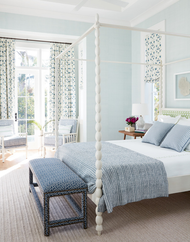 Soft Blue Bedroom with white bed and blue and white bedding sources on Home Bunch Canopy Bed Soft Blue Bedroom with white bed and blue and white bedding #SoftBlue #Bedroom #softbluebedroom #bluebedroom #whitebed #canopybed #blueandwhitebedding