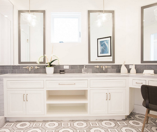 Benjamin Moore Cloud White Double sink bathroom cabinet paint color Benjamin Moore Cloud White Benjamin Moore Cloud White #BenjaminMooreCloudWhite