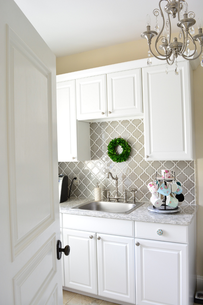 Grey Arabesque Backsplash Tile in laundry room