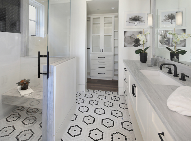 """Shower Tile Shower features Crystal White Thassos slab (up to 60"""") and Hex China Black tile above it #showertile"""