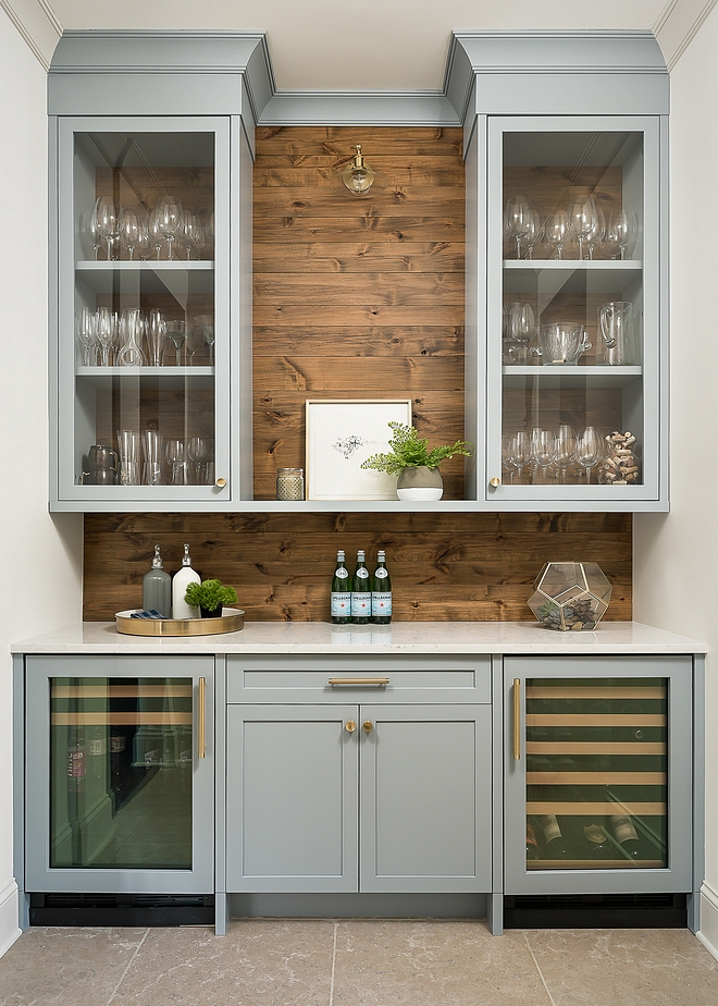Benjamin Moore Solitude AF-545 Butlers Pantry Cabinet Paint Color Wood shiplap backsplash is Knotty Alder Benjamin Moore Solitude AF-545 Benjamin Moore Solitude AF-545 Benjamin Moore Solitude AF-545 #BenjaminMooreSolitudeAF545 #BenjaminMooreSolitude #BenjaminMooreAF545