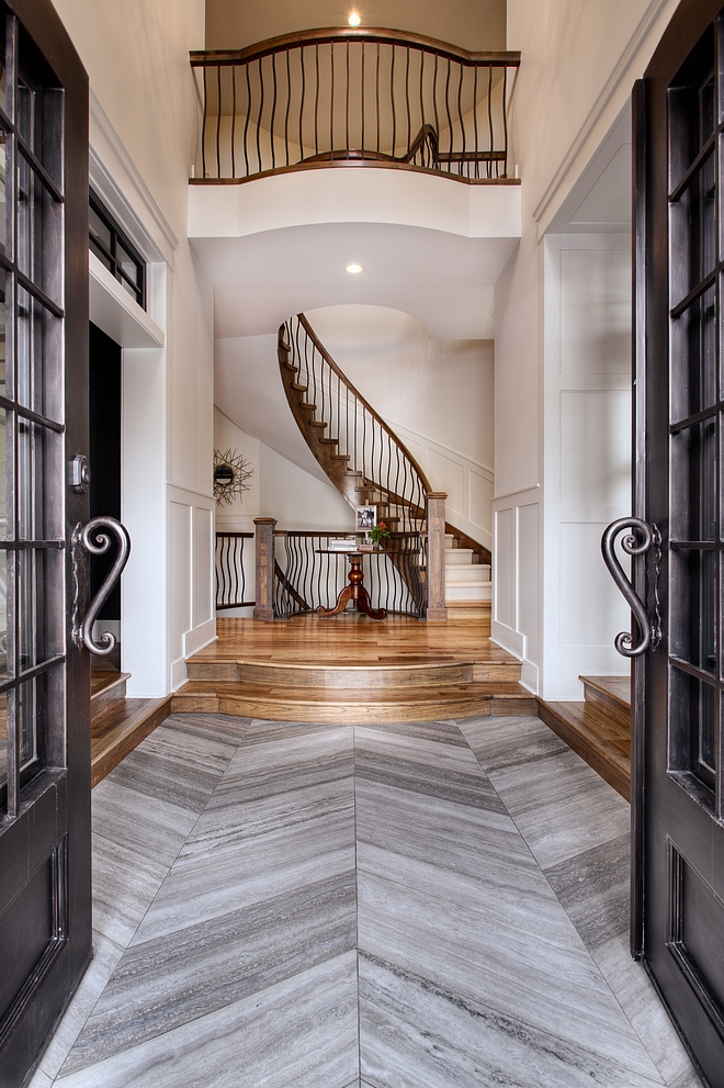 Chevron Tile Chevron Floor Tile Front entrance tile is a vein cut honed grey Limestone in a chevron pattern #chevrontile