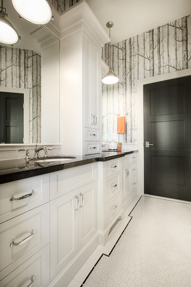 Bathroom with custom cabinetry tower between sinks Cabinet painted in BM Seapearl #bathroom #cabinet #BMSeapearl