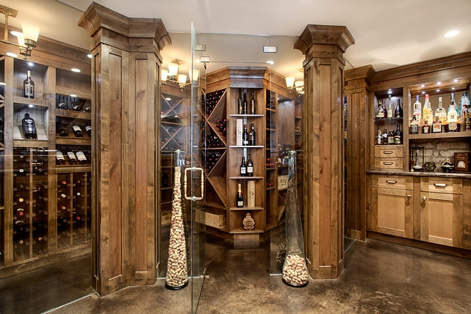 Wine Room with Alder Cabinetry and Glass Wine Room #WineRoom