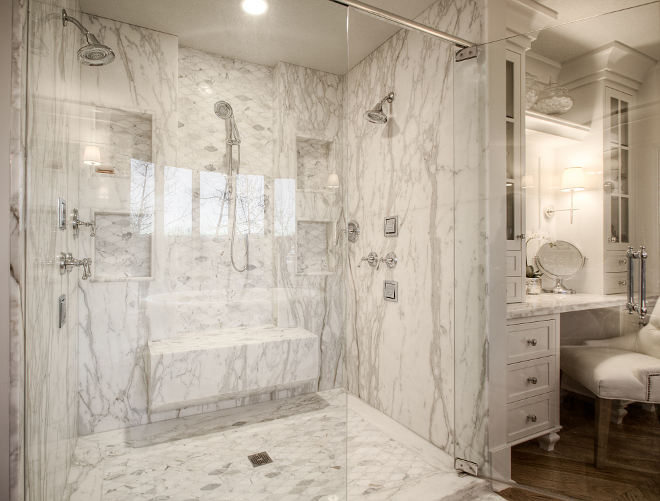 Slab Shower Marble Slab Shower Large White Marble Shower with bench White Marble Slab Shower Marble Slab Shower #Showerbench #SlabShower #MarbleSlabShower #MarbleShower