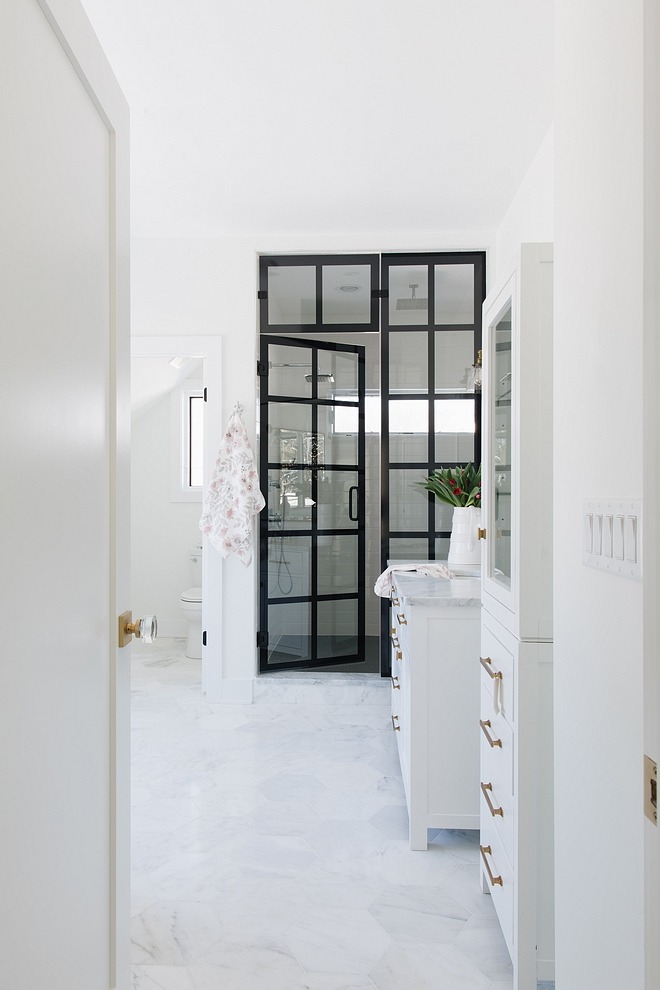 Bathroom with steel shower doors Bathroom with black steel and glass shower doors Bathroom with black steel and glass shower door sources on Home Bunch #blacksteelshower