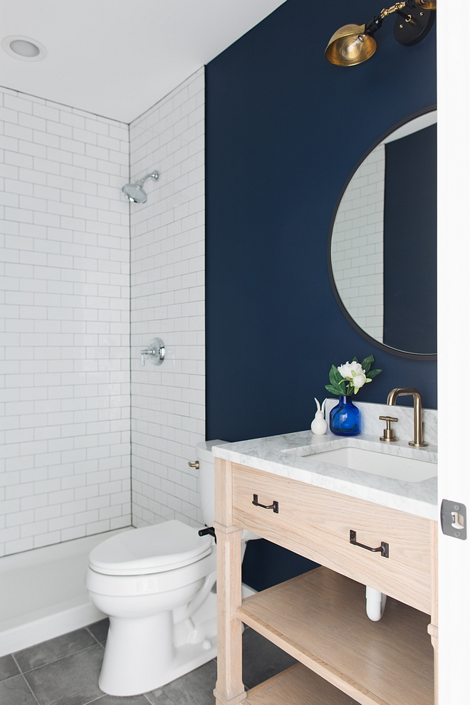 Sherwin Williams Naval SW 6244 Sherwin Williams Naval SW 6244 Farmhouse bathroom with dark blue paint color Sherwin Williams Naval SW 6244 and white subway tile Sherwin Williams Naval SW 6244 #SherwinWilliamsNavalSW6244